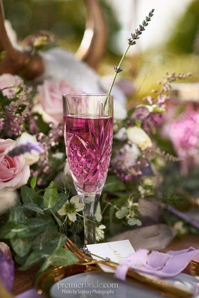 light purple colored wedding beverage