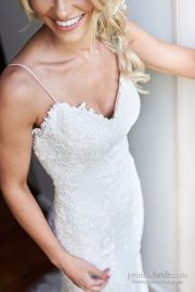 Sottero and Midgley chic lace wedding gown with spaghetti straps