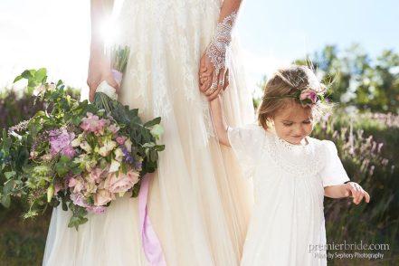 boho bride and her flower girl