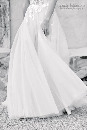 Flowing and romantic wedding gown