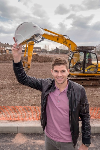 Steven Gerrard- Liverpool Football Steven Gerrard officially launched the start of the construction phase a new extra care complex for the over 55s in Huyton, Knowsley, Merseyside