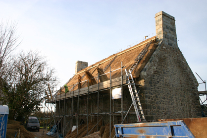 Les Caches Barn - Thatching In Progress