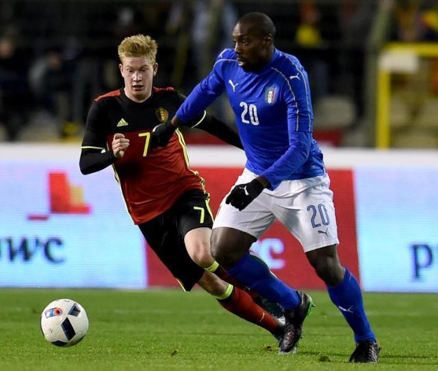 Stefano Okaka In Action For Italy
