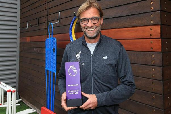 Image result for pic of klopp with his september manager of the month award