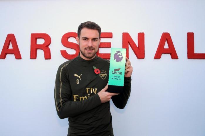 Ramsey wins Carling award for brilliant Arsenal goal