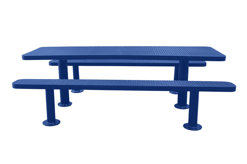 8 picnic table surface mount multi pedestal expanded metal design