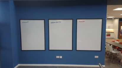 Drywipe Board with vinyl graphics and PVC frame