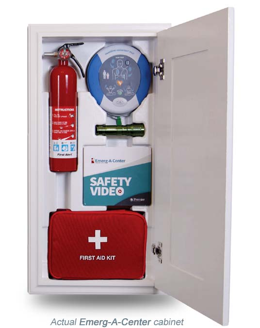 Emergency Preparedness Kit hidden home kitchen storage cabinet, office storage compartment, Emergency Kit - AED, first aid kit, fire extinguisher