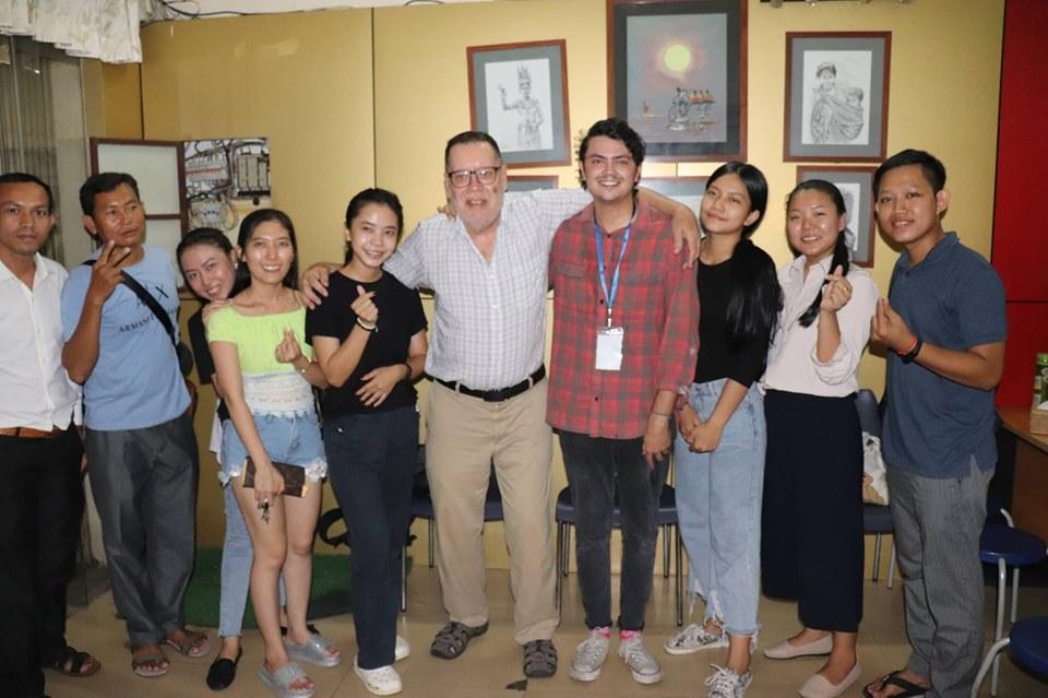 Teacher with students - Sweden to Cambodia: Meet Anton Hedlund