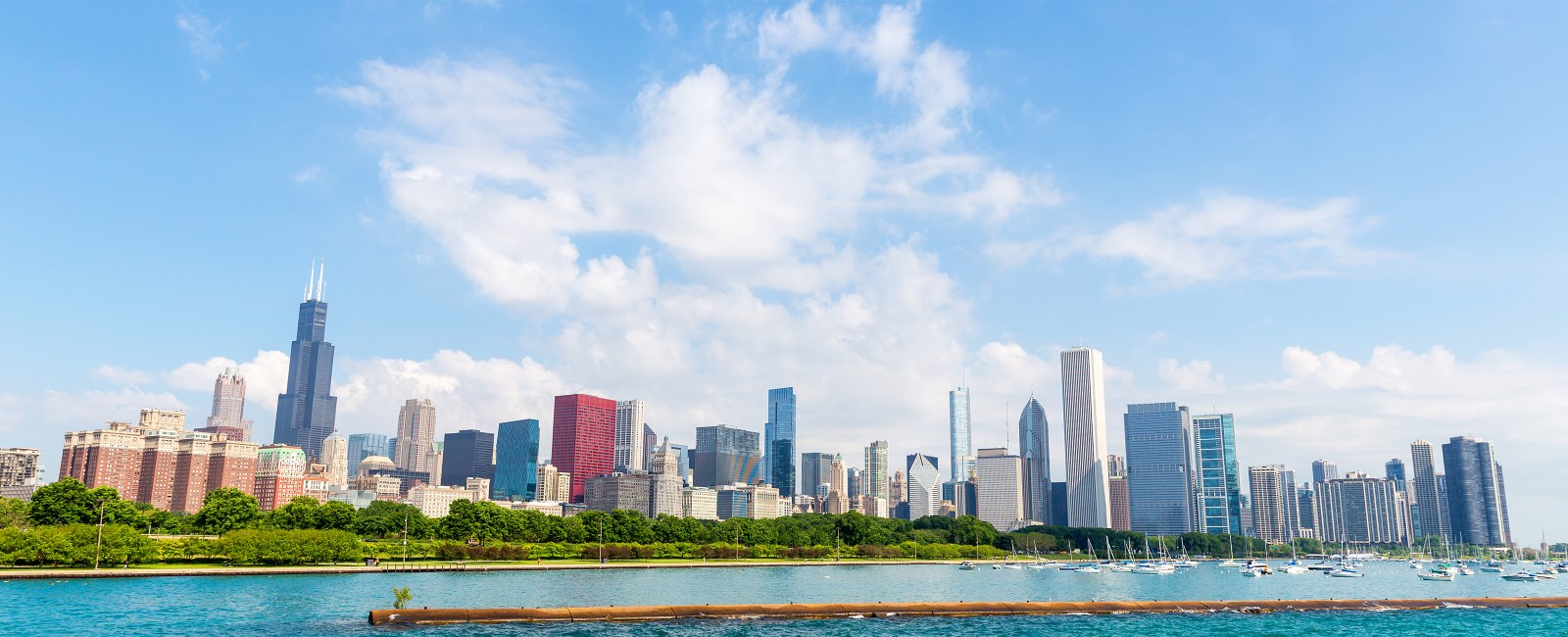 View of the Chicago skyline from across the lake
