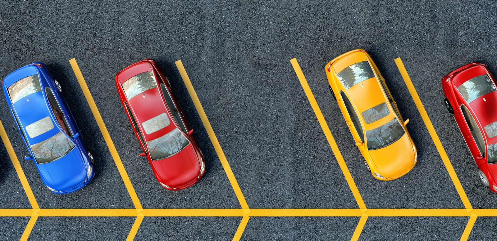 Top-down view of a free parking space
