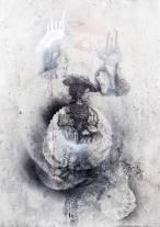 pierpaoli 1 michele respiro,2013,50x70cm, cenere stancil vernice spry matita_e