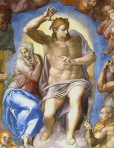 """Cristo giudice e Maria - """"Giudizio Universale"""" Michelangelo 1535-1541"""