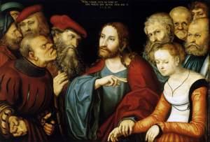 """Lucas Cranach il Vecchio (1472, Kronach - 1553, Weimar), """"Cristo e la donna colta in adulterio"""", 1532, Olio su tavola, 82,5 x 121 cm, Museum of Fine Arts, Budapest"""