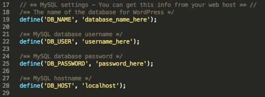 wp-config database details