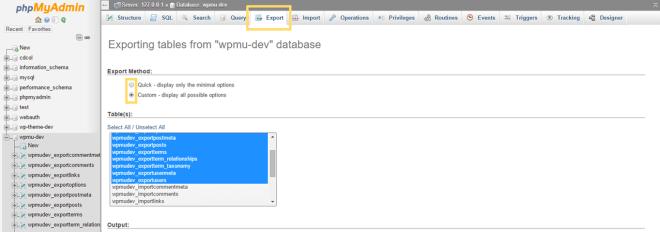 phpMyAdmin Database Export Options