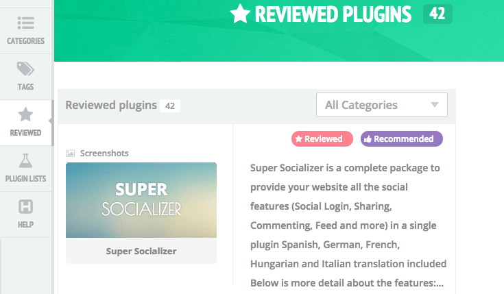 Reviewed plugins page