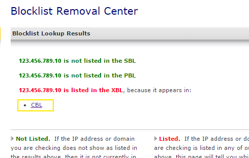 An example IP address has been detected as blacklisted by Spamhaus and a link to the site where the IP has been blacklisted is provided.