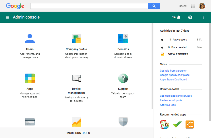 Google apps admin screen
