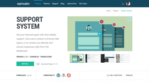 Support system plugin page