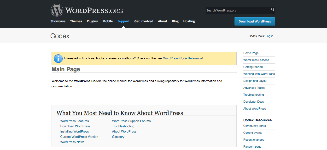 The Codex is a fantastic source of information about all things WordPress.