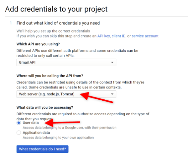 Screenshot of Gmail Add Credentials Step 1