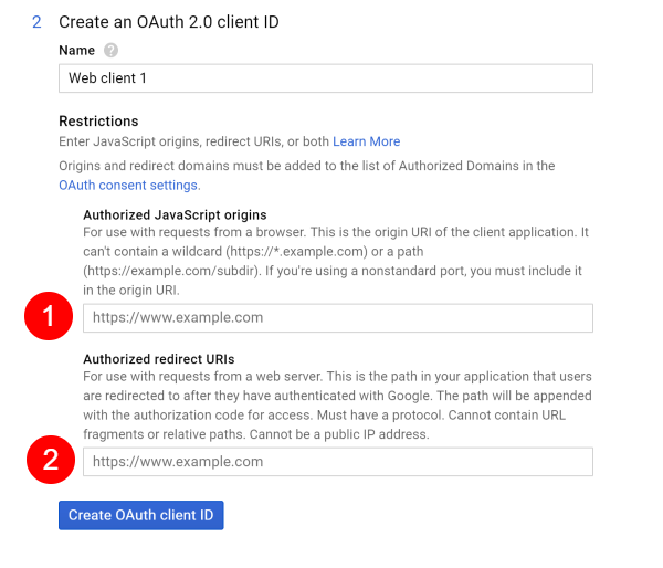 Screenshot of Google API Create OAuth Client Credentials