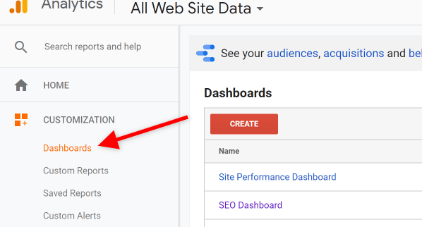 Screenshot of Google Analytics How to Access Dashboards