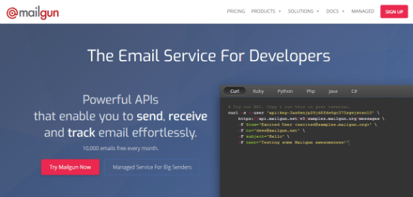 Screenshot of Mailgun homepage