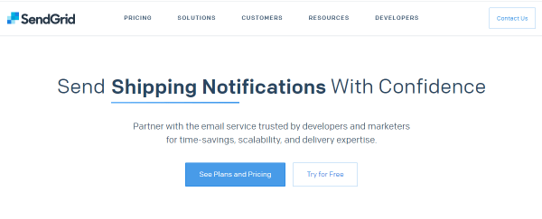 Screenshot of SendGrid Home Page