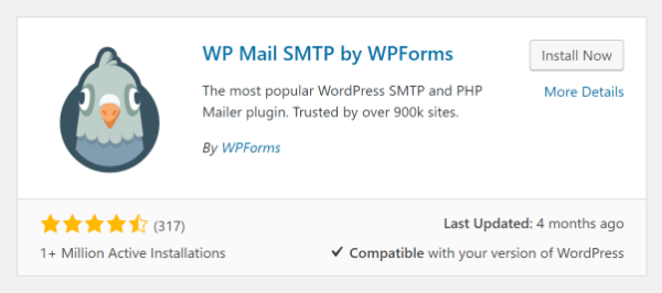 Screenshot of WP Mail SMTP Plugin in WordPress