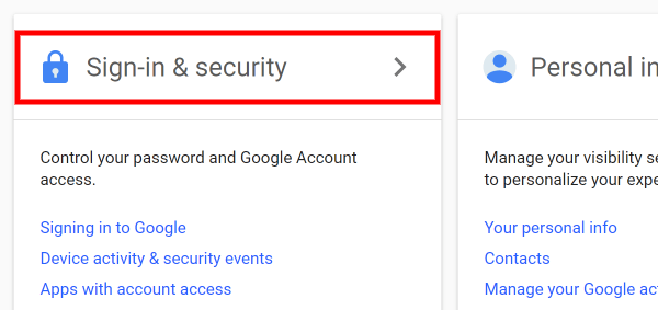 Screenshot of how to Access Google Security Settings