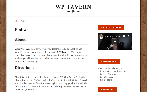 Screenshot of Home Page for WP Tavern WordPress Podcast
