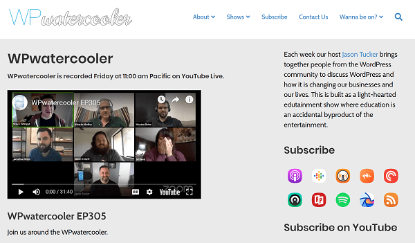 Screenshot of Home Page for WP Watercooler Podcast