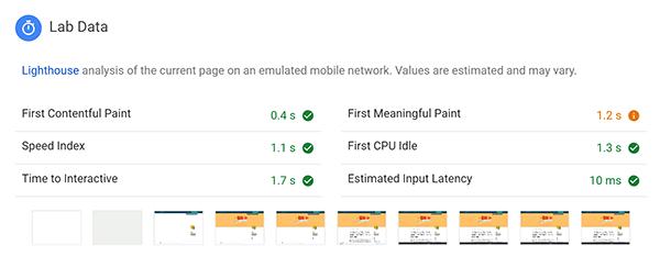 Captura de pantalla de datos de laboratorio en Google PageSpeed Insights