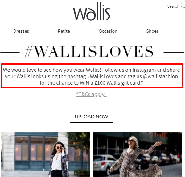 Wallis website with user generated content request notice highlighted