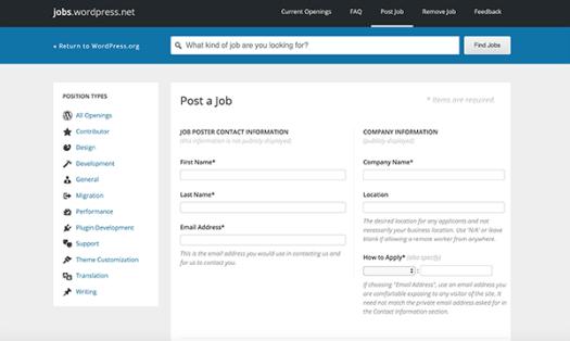 WordPress jobs posting a job.