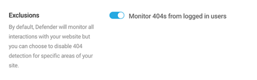Click to monitor 404s from logged in users.