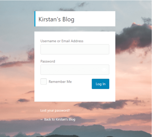 Screenshot of a personalized login screen where the background has been replaced by a sunset.