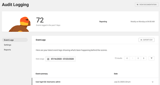 The Audit Logging dashboard that contains all the recent events.