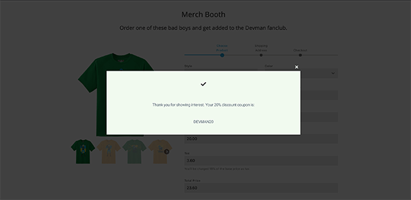 A look at the discount code being displayed.