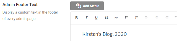 Screenshot of custom admin footer text which says Kirstan's Blog, 2020.