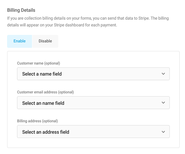 Where you customize the billing details.