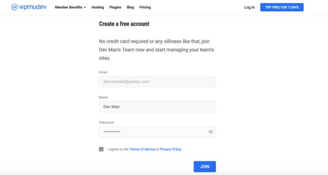 Where a user creates a free account.