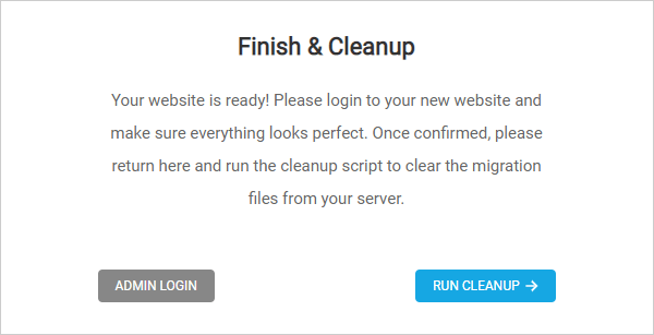 Migration Wizard - Finish and Cleanup modal