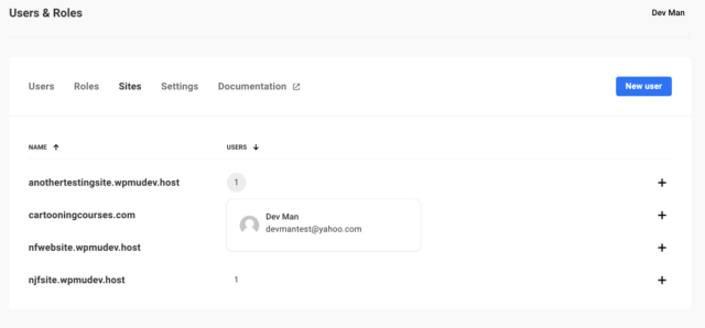 Shows the user and role for site.