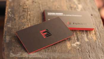 Black And Red Foil 36pt Business Cards