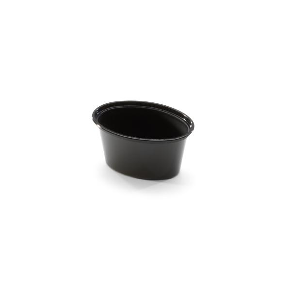 Ovale cup van plastic met een inhoud van 2oz.