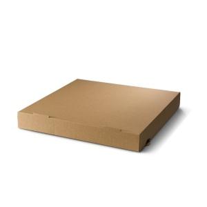 Pizza doos van karton in een bruine kleur.