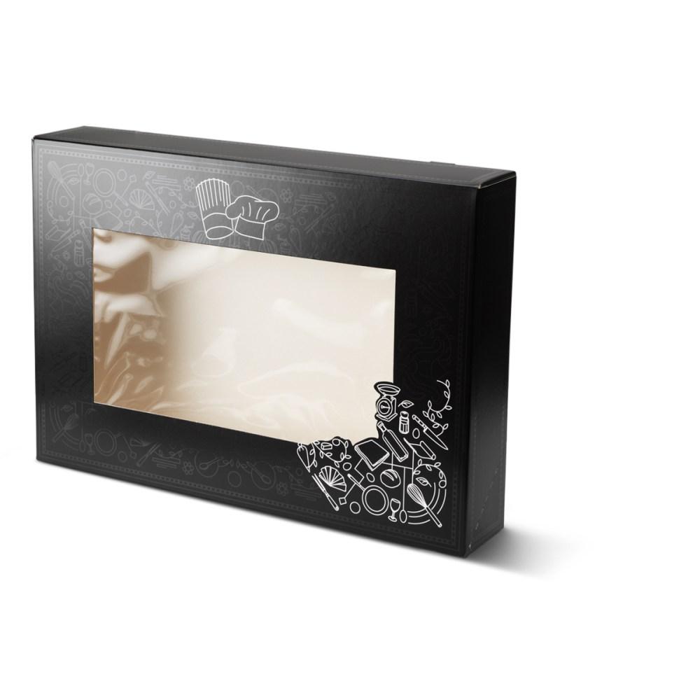 Catering doos middel met venster voor bijvoorbeeld salades, maaltijden etc. uitgevoerd in het zwart